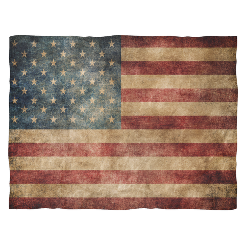 Faded US Flag Fleece Blanket