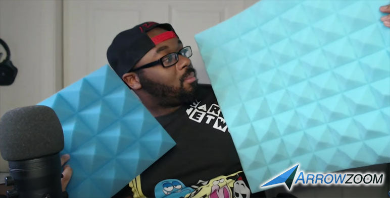 Icjosh comparing the 2 different sizes of Arrowzoom's Pyramid acoustic foam.