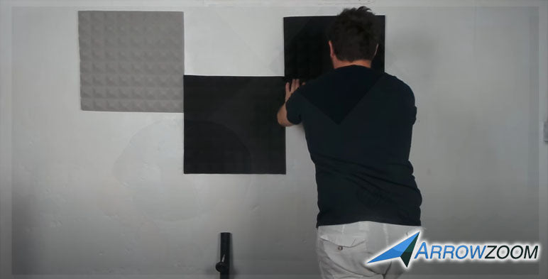 Install the acoustic foam by pressing it against the wall.