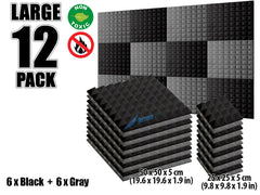 New 12 pcs Black and Gray Bundle Pyramid Tiles Acoustic Panels Sound Absorption Studio Soundproof Foam KK1034