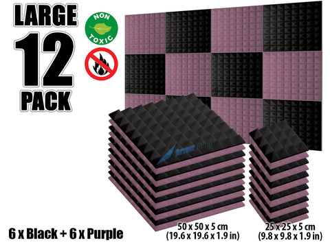 New 12 pcs Black and Purple Bundle Pyramid Tiles Acoustic Panels Sound Absorption Studio Soundproof Foam KK1034