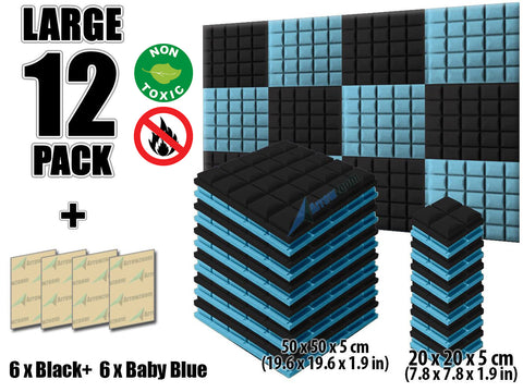 New 12 pcs Black and Baby Blue Bundle Hemisphere Grid Type Acoustic Panels Sound Absorption Studio Soundproof Foam KK1040