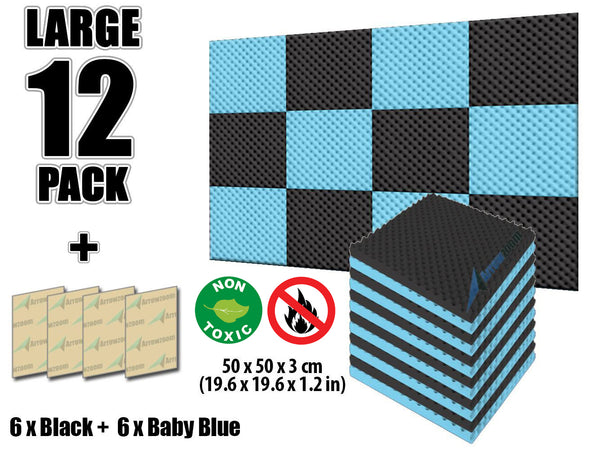 New 12 Pcs Black and Baby Blue Bundle Egg Crate Convoluted Acoustic Tile Panels Sound Absorption Studio Soundproof Foam KK1052