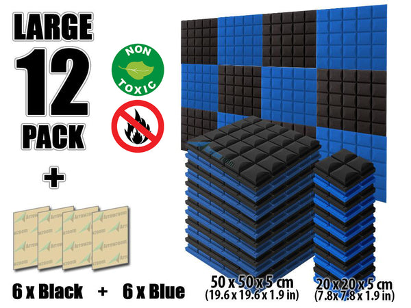 New 12 pcs Black and Blue Bundle Hemisphere Grid Type Acoustic Panels Sound Absorption Studio Soundproof Foam KK1040
