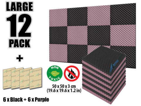 New 12 Pcs Black and Purple Bundle Egg Crate Convoluted Acoustic Tile Panels Sound Absorption Studio Soundproof Foam KK1052