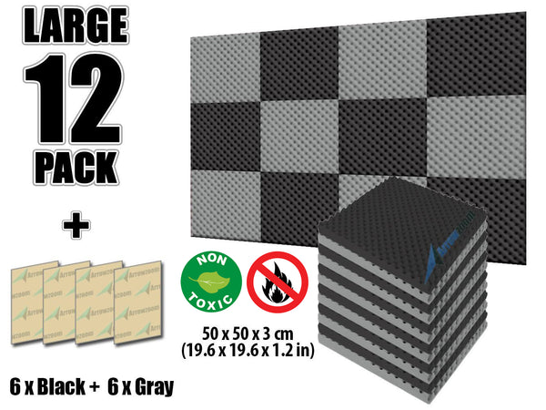 New 12 Pcs Black and Gray Bundle Egg Crate Convoluted Acoustic Tile Panels Sound Absorption Studio Soundproof Foam KK1052