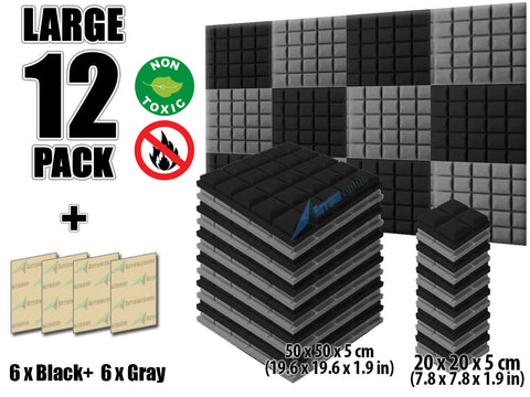 New 12 pcs Black and Gray Bundle Hemisphere Grid Type Acoustic Panels Sound Absorption Studio Soundproof Foam KK1040