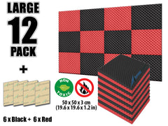 New 12 Pcs Black and Red Bundle Egg Crate Convoluted Acoustic Tile Panels Sound Absorption Studio Soundproof Foam KK1052