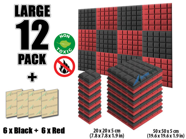 New 12 pcs Black and Red Bundle Hemisphere Grid Type Acoustic Panels Sound Absorption Studio Soundproof Foam KK1040