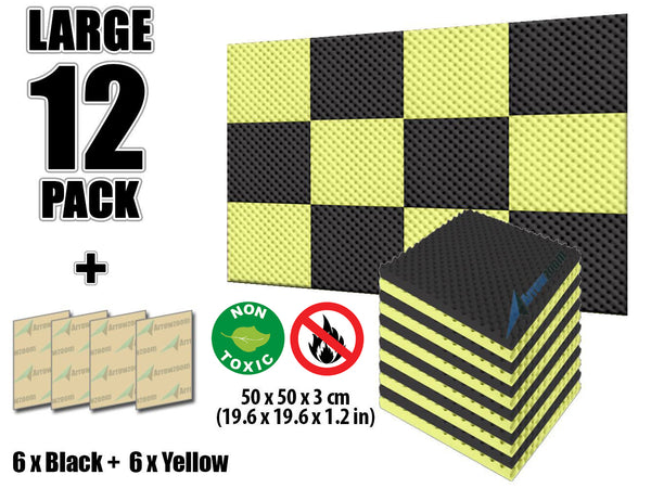 New 12 Pcs Black and Yellow Bundle Egg Crate Convoluted Acoustic Tile Panels Sound Absorption Studio Soundproof Foam KK1052