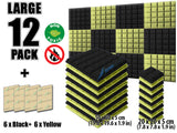 New 12 pcs Black and Yellow Bundle Hemisphere Grid Type Acoustic Panels Sound Absorption Studio Soundproof Foam KK1040