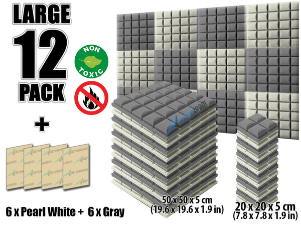 New 12 pcs Pearl White and Gray Bundle Hemisphere Grid Type Acoustic Panels Sound Absorption Studio Soundproof Foam KK1040