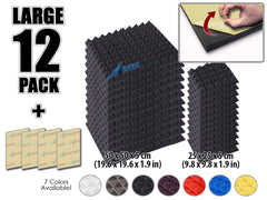 New 12 pcs Bundle Pyramid Adhesive Backed Tiles Acoustic Panels Sound Absorption Studio Soundproof Foam 7 Colors KK1053