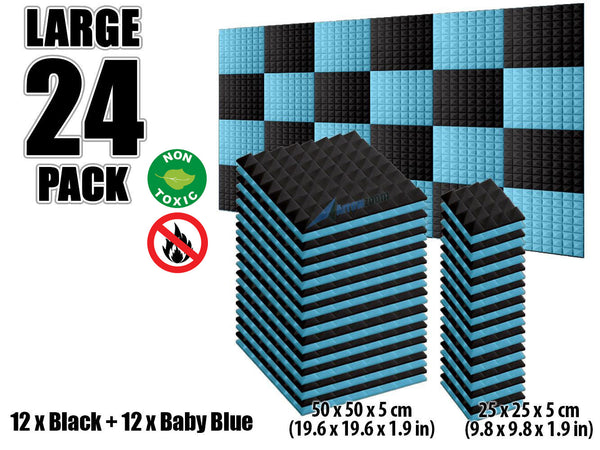 New 24 pcs Black and Baby Blue Bundle Pyramid Tiles Acoustic Panels Sound Absorption Studio Soundproof Foam KK1034