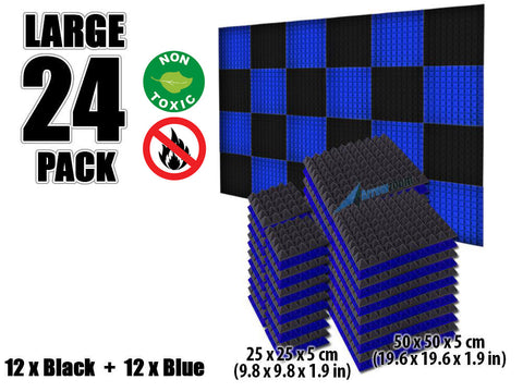 New 24 pcs Black and Blue Bundle Pyramid Tiles Acoustic Panels Sound Absorption Studio Soundproof Foam KK1034