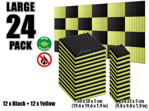 New 24 pcs Black and Yellow Bundle Pyramid Tiles Acoustic Panels Sound Absorption Studio Soundproof Foam KK1034