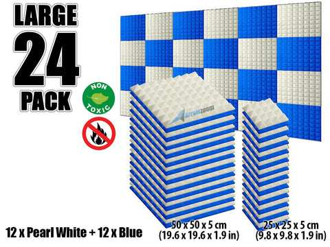 New 24 pcs Pearl White and Blue Bundle Pyramid Tiles Acoustic Panels Sound Absorption Studio Soundproof Foam KK1034