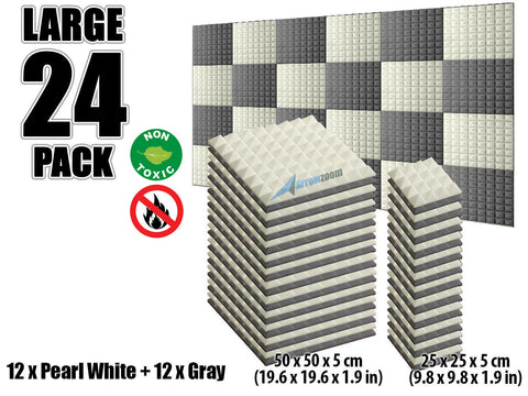 New 24 pcs Pearl White and Gray Bundle Pyramid Tiles Acoustic Panels Sound Absorption Studio Soundproof Foam KK1034