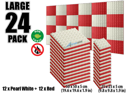 New 24 pcs Pearl White and Red Bundle Pyramid Tiles Acoustic Panels Sound Absorption Studio Soundproof Foam KK1034