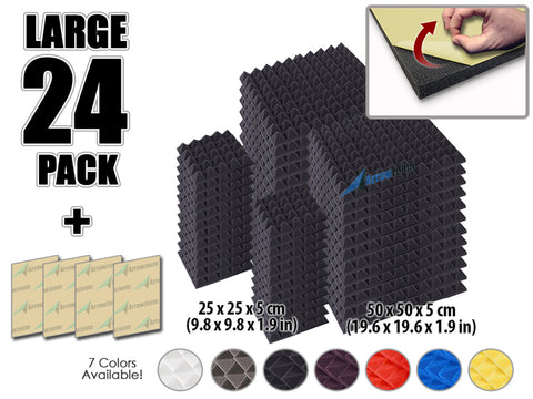 New 24 pcs Bundle Pyramid Adhesive Backed Tiles Acoustic Panels Sound Absorption Studio Soundproof Foam 7 Colors KK1053