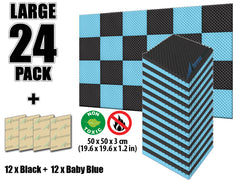 New 24 Pcs Black and Baby Blue Bundle Egg Crate Convoluted Acoustic Tile Panels Sound Absorption Studio Soundproof Foam KK1052