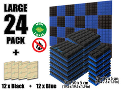 New 24 pcs Black and Blue Bundle Hemisphere Grid Type Acoustic Panels Sound Absorption Studio Soundproof Foam KK1040