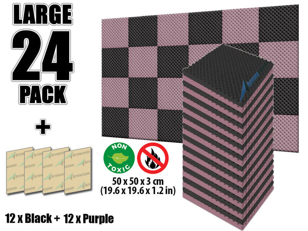 New 24 Pcs Black and Purple Bundle Egg Crate Convoluted Acoustic Tile Panels Sound Absorption Studio Soundproof Foam KK1052