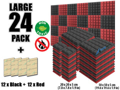 New 24 pcs Black and Red Bundle Hemisphere Grid Type Acoustic Panels Sound Absorption Studio Soundproof Foam KK1040