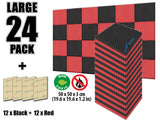 New 24 Pcs Black and Red Bundle Egg Crate Convoluted Acoustic Tile Panels Sound Absorption Studio Soundproof Foam KK1052