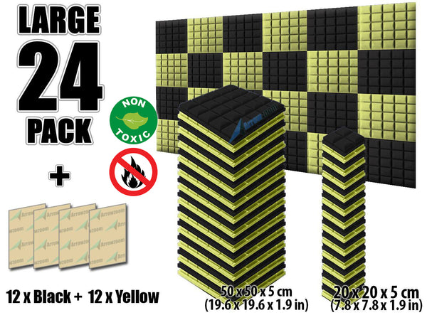 New 24 pcs Black and Yellow Bundle Hemisphere Grid Type Acoustic Panels Sound Absorption Studio Soundproof Foam KK1040