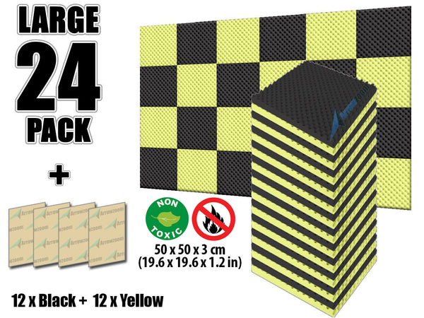 New 24 Pcs Black and Yellow Bundle Egg Crate Convoluted Acoustic Tile Panels Sound Absorption Studio Soundproof Foam KK1052