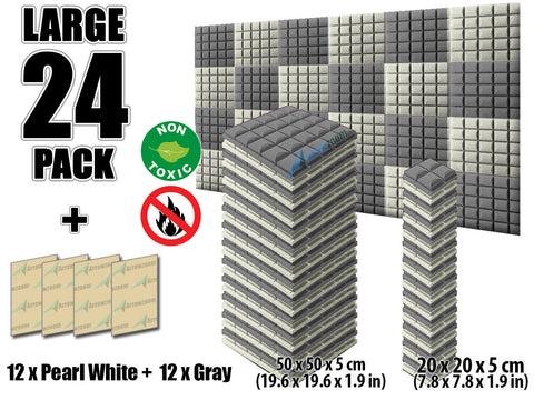 New 24 pcs Pearl White and Gray Bundle Hemisphere Grid Type Acoustic Panels Sound Absorption Studio Soundproof Foam KK1040