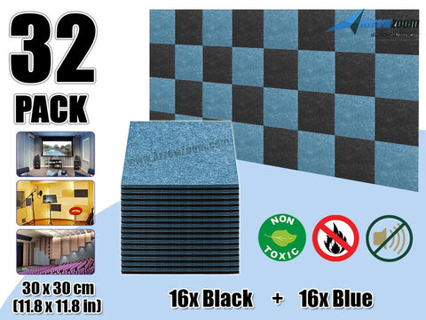 Arrowzoom 32 Pcs BLACK & BLUE Acoustic Sound Deadening Polyester Fabric Panels Sound Absorption Studio Soundproof Acoustic Panel KK1093