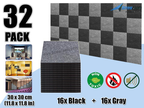 Arrowzoom 32 Pcs BLACK & GRAY Acoustic Sound Deadening Polyester Fabric Panels Sound Absorption Studio Soundproof Acoustic Panel KK1093