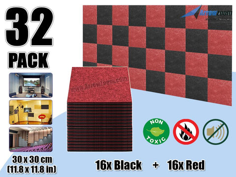 Arrowzoom 32 Pcs BLACK & RED Acoustic Sound Deadening Polyester Fabric Panels Sound Absorption Studio Soundproof Acoustic Panel KK1093