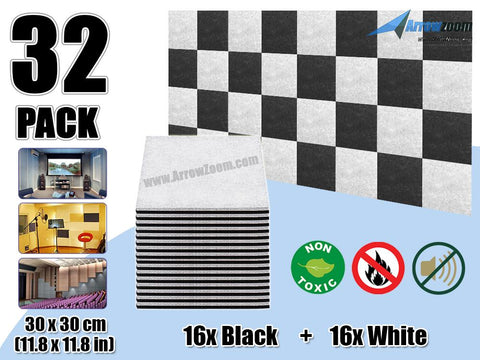 Arrowzoom 32 Pcs BLACK & WHITE Acoustic Sound Deadening Polyester Fabric Panels Sound Absorption Studio Soundproof Acoustic Panel KK1093