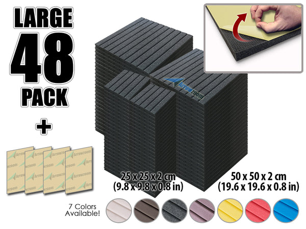 New 48 pcs Bundle Wedge Adhesive Backed Tiles Acoustic Panels Sound Absorption Studio Soundproof Foam 7 Colors KK1054