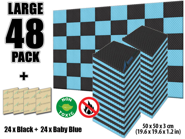 New 48 Pcs Black and Baby Blue Bundle Egg Crate Convoluted Acoustic Tile Panels Sound Absorption Studio Soundproof Foam KK1052