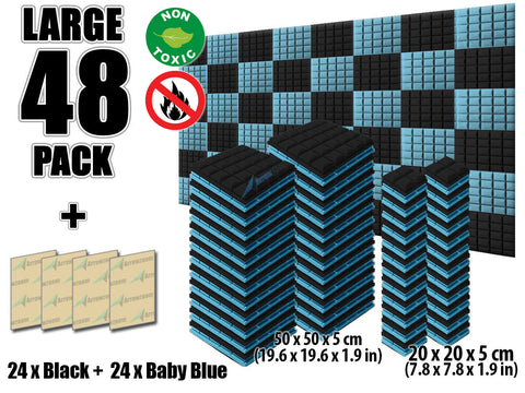 New 48 pcs Black and Baby Blue Bundle Hemisphere Grid Type Acoustic Panels Sound Absorption Studio Soundproof Foam KK1040