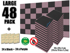 New 48 Pcs Black and Purple Bundle Egg Crate Convoluted Acoustic Tile Panels Sound Absorption Studio Soundproof Foam KK1052