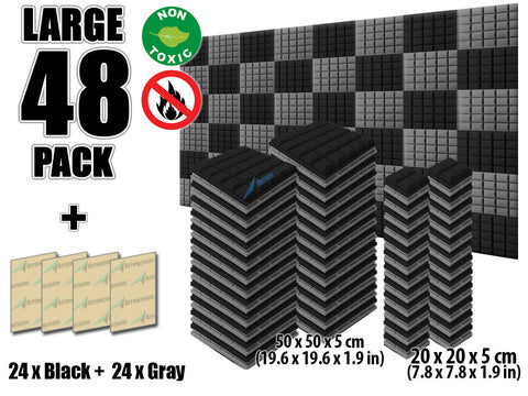 New 48 pcs Black and Gray Bundle Hemisphere Grid Type Acoustic Panels Sound Absorption Studio Soundproof Foam KK1040