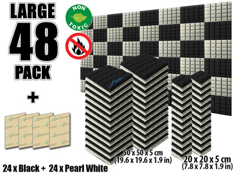 New 48 pcs Black and Pearl White Bundle Hemisphere Grid Type Acoustic Panels Sound Absorption Studio Soundproof Foam KK1040