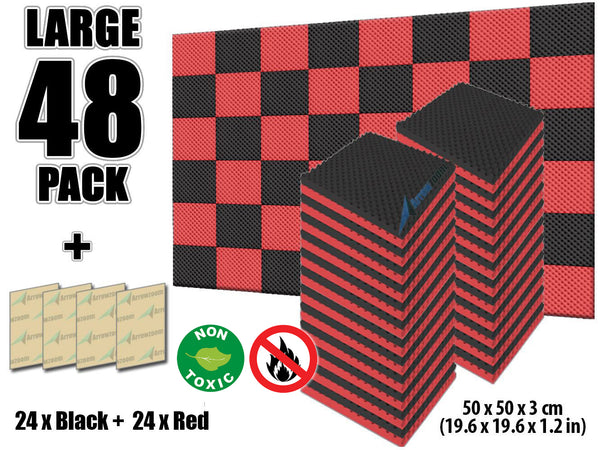 New 48 Pcs Black and Red Bundle Egg Crate Convoluted Acoustic Tile Panels Sound Absorption Studio Soundproof Foam KK1052