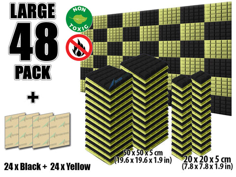 New 48 pcs Black and Yellow Bundle Hemisphere Grid Type Acoustic Panels Sound Absorption Studio Soundproof Foam KK1040