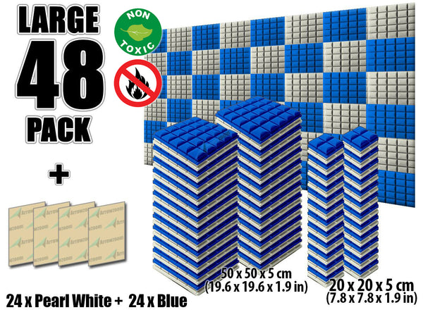 New 48 pcs Pearl White and Blue Bundle Hemisphere Grid Type Acoustic Panels Sound Absorption Studio Soundproof Foam KK1040