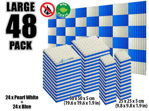 New 48 pcs Pearl White and Blue Bundle Pyramid Tiles Acoustic Panels Sound Absorption Studio Soundproof Foam KK1034
