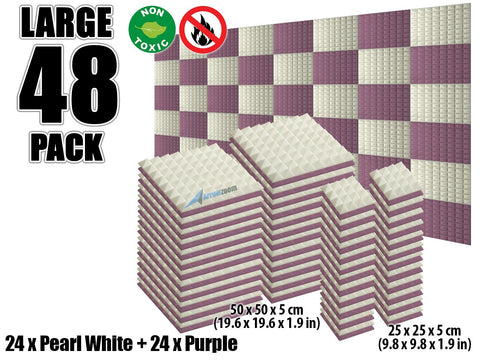 New 48 pcs Pearl White and Purple Bundle Pyramid Tiles Acoustic Panels Sound Absorption Studio Soundproof Foam KK1034