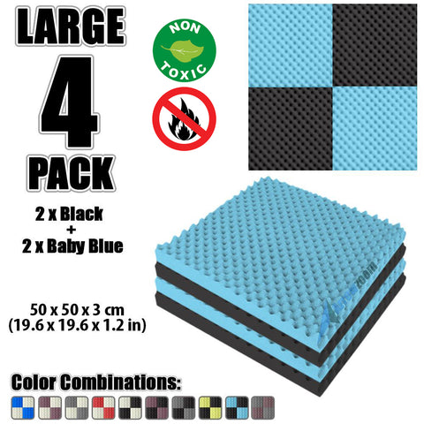 New 4 Pcs Black and Baby Blue Bundle Egg Crate Convoluted Acoustic Tile Panels Sound Absorption Studio Soundproof Foam KK1052
