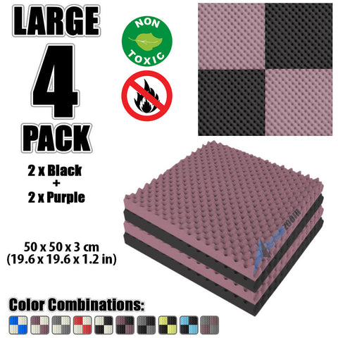 New 4 Pcs Black and Purple Bundle Egg Crate Convoluted Acoustic Tile Panels Sound Absorption Studio Soundproof Foam KK1052
