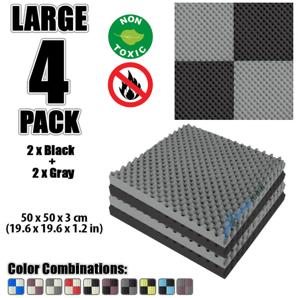 New 4 Pcs Black and Gray Bundle Egg Crate Convoluted Acoustic Tile Panels Sound Absorption Studio Soundproof Foam KK1052
